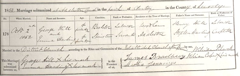Marriage Record of George Hill and Emma Harding 2 Oct 1852