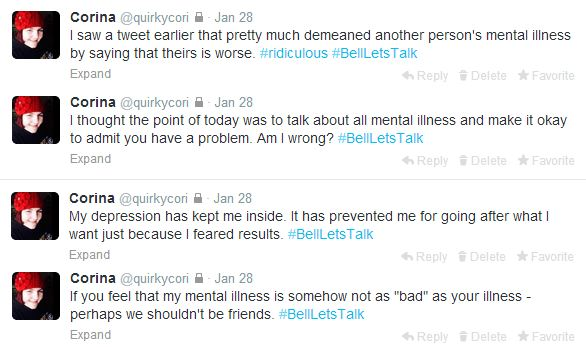 My #BellLetsTalk posts on twitter after being incensed to action