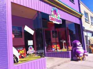 The purple storefront at Candyfunhouse cannot be missed