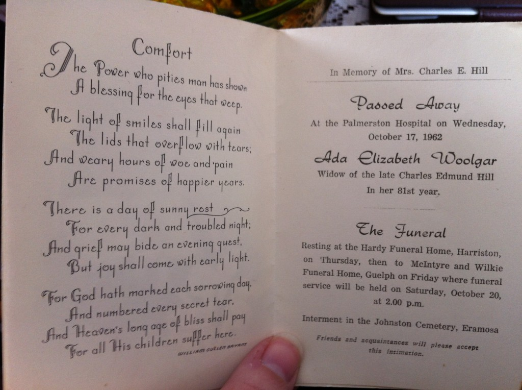 The funeral card for Ada Elizabeth Woolgar, wife of the late Charles Edmund Hill