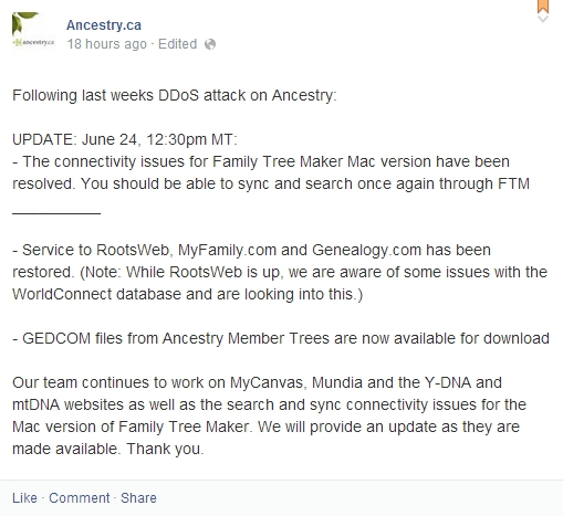 Ancestry Facebook Update 24Jun2014