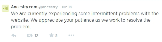 This was the first tweet announcing an issue with the Ancestry website on June 16, 2014
