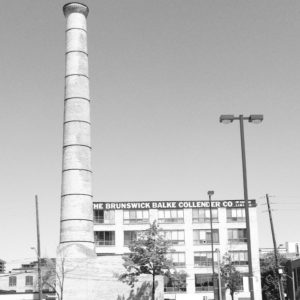 This old factory and smokestack stand as testament to the history of Toronto's Liberty Village