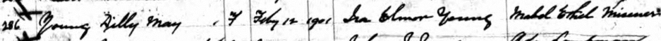 Lilly May Young, Ira Elmor Young, Mabel Misener, birth record