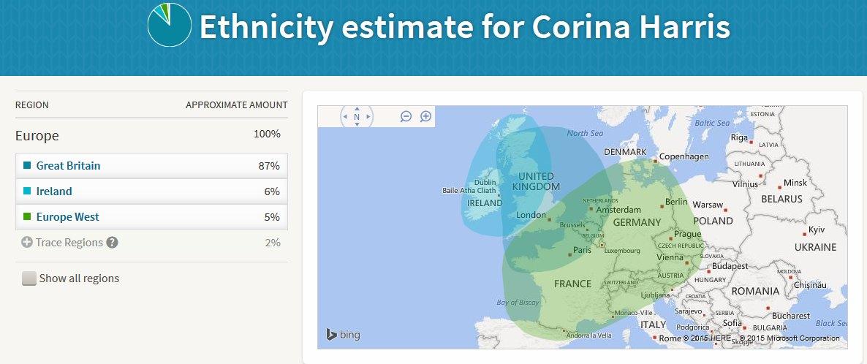 AncestryDNA, Corina Harris, Map, Ethnicity Estimate