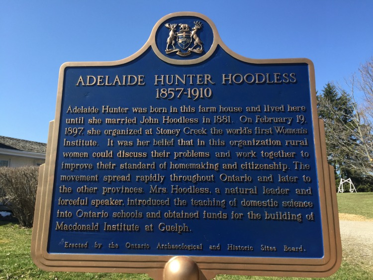 The plaque commemorating the life of Adelaide Hunter Hoodless stands outside her family homestead near St. George, Ontario.