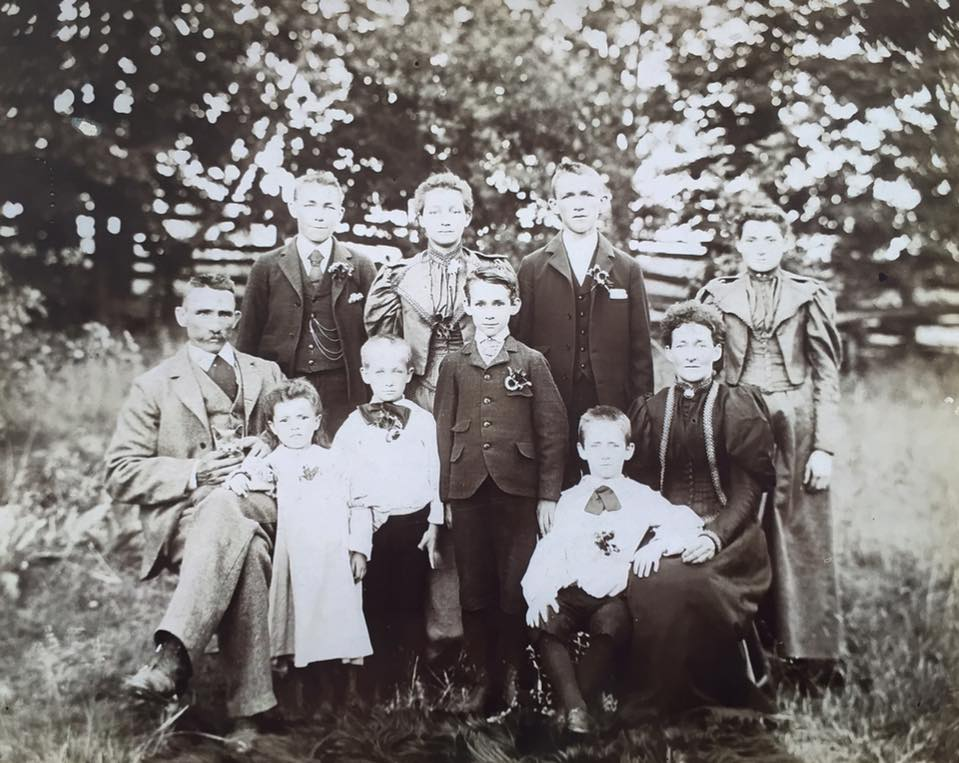 The Marcy family from June 1896. Back row: George Marcy, Ida Marcy, William Marcy, Mary Anne Marcy, Front row: Jared Marcy (father), Esther Marcy, Jared Marcy Jr, Norris Marcy. Sarah Marcy (mother - nee. McNeilly)