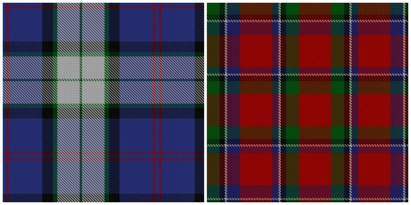 According to the Scottish Register of Tartans, these two tartans are available for people under the clan Sinclair. Left: the dress tartan for dancing. Right: the original clan tartan